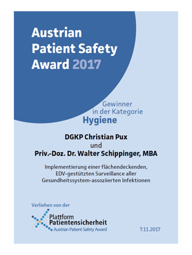 Urkunde Austrian Patient Safety Award 2017