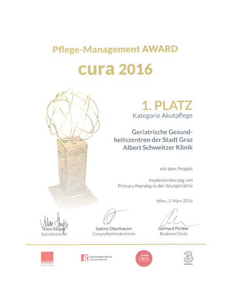 Urkunde Pflege Management Award Cura 2016